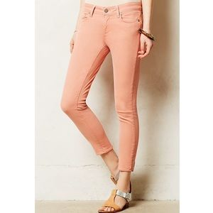 Pilcro and the Letterpress peach skinny jeans